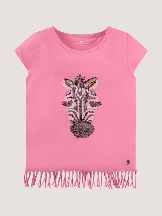 T-shirt with fringes and sequin artwork - Girls - sachet pink|rose - 7 - Tom Tailor E-Shop Kollektion
