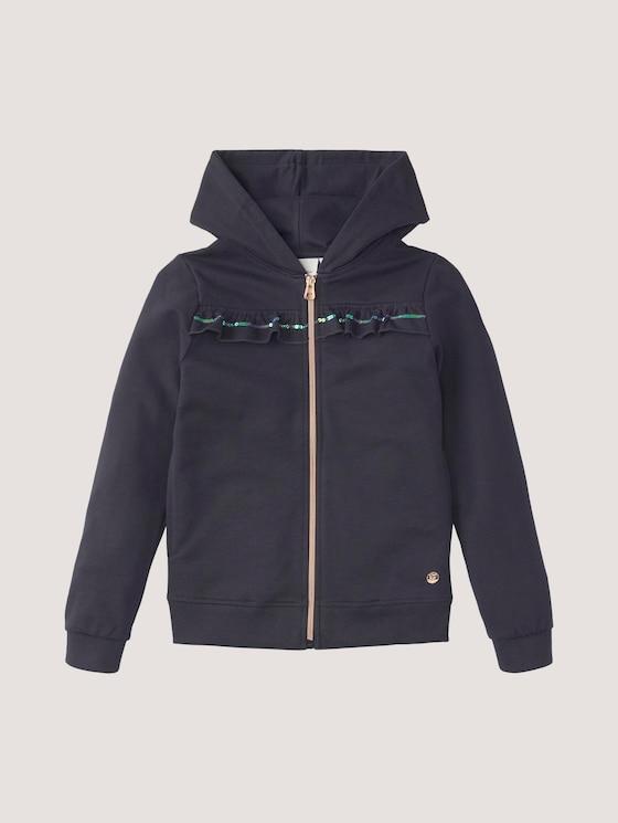 Sweatjacke mit Rüschenborte - Mädchen - night sky|blue - 7 - Tom Tailor E-Shop Kollektion
