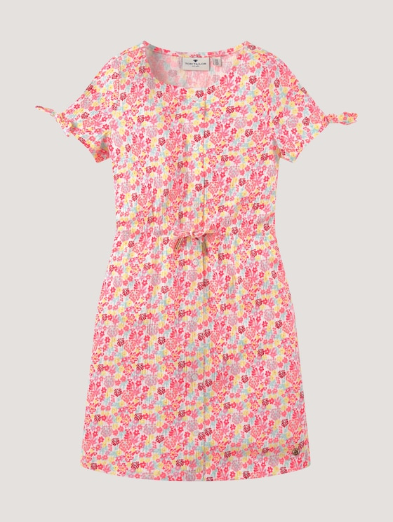 Floral jersey dress with knotted details - Girls - allover|multicolored - 7 - Tom Tailor E-Shop Kollektion