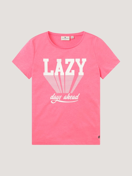 T-shirt with a print - Girls - coral neon pink|pink - 7 - Tom Tailor E-Shop Kollektion