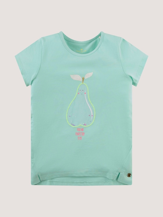T-shirt with a print and sequins - Girls - yucca green - 7 - Tom Tailor E-Shop Kollektion