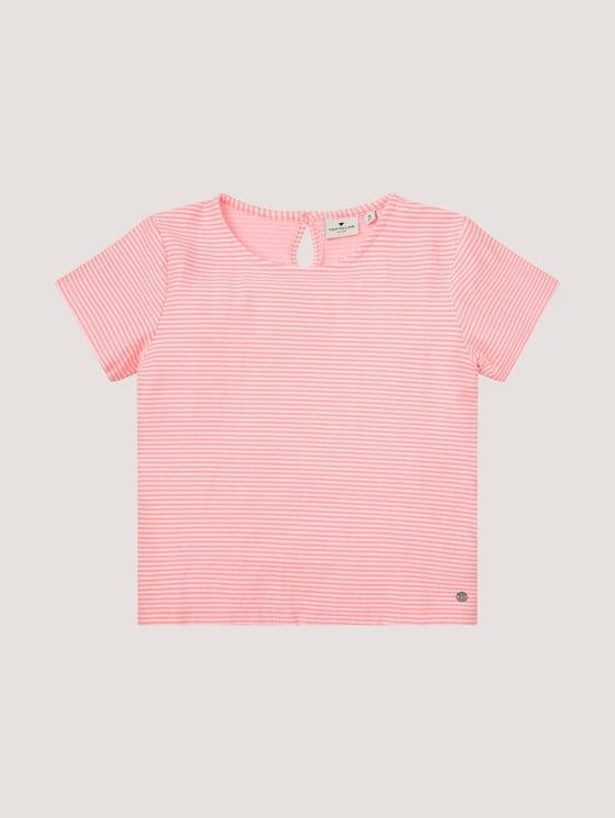 Striped T-shirt with tie details - Girls - knockout pink|pink - 7 - Tom Tailor E-Shop Kollektion