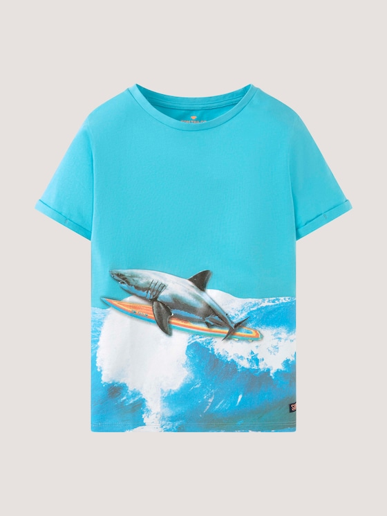 T-shirt with a print - Boys - vivid aqua cyan - 7 - Tom Tailor E-Shop Kollektion