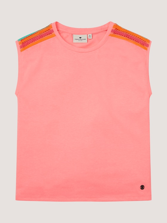 Sleeveless T-shirt with striped tapes - Girls - coral neon pink pink - 7 - Tom Tailor E-Shop Kollektion