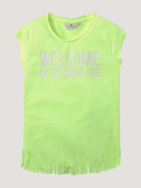 T-shirt with fringes - Girls - fiery lime neon|green - 7 - Tom Tailor E-Shop Kollektion