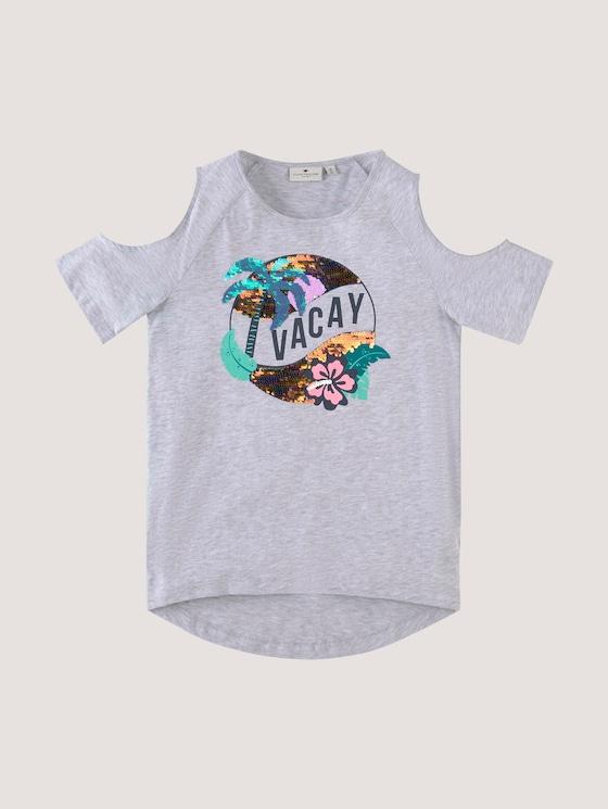 T-shirt with cut-outs - Girls - evergray melange|gray - 7 - Tom Tailor E-Shop Kollektion