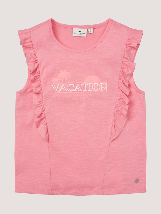 T-shirt with ruffles and a print - Girls - sachet pink|rose - 7 - Tom Tailor E-Shop Kollektion