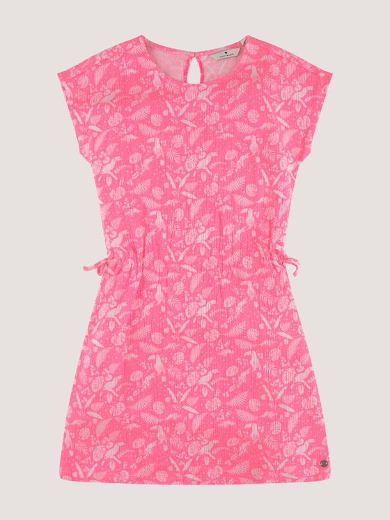 Patterned dress with a drawstring - Girls - coral neon pink|pink - 7 - Tom Tailor E-Shop Kollektion