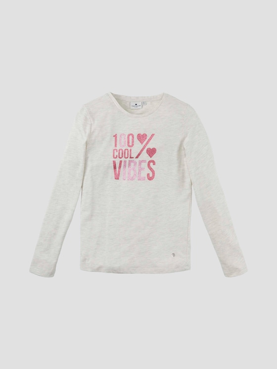 Langarmshirt mit Glitzer-Print - Mädchen - off white melange white - 7 - Tom Tailor E-Shop Kollektion