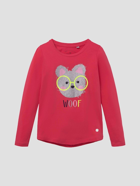 Long-sleeved shirt with glitter artwork - Girls - rouge red|red - 7 - TOM TAILOR