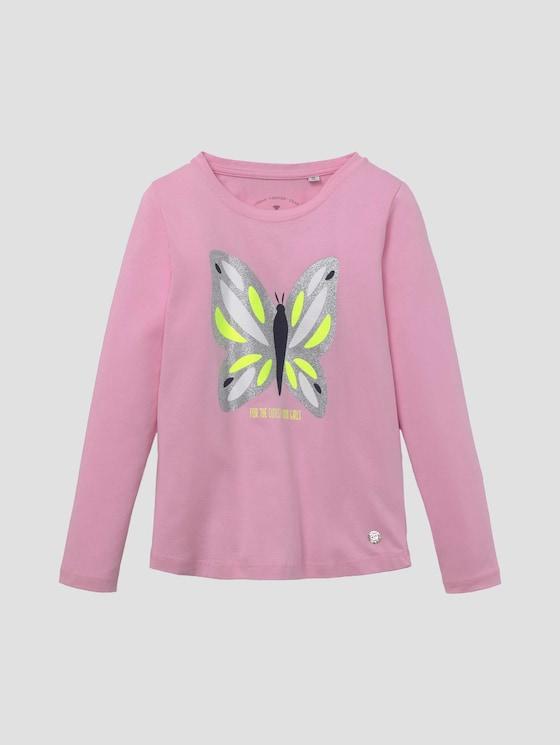 Langarmshirt mit Glitzer-Artwork - Mädchen - lilac sachet|rose - 7 - TOM TAILOR