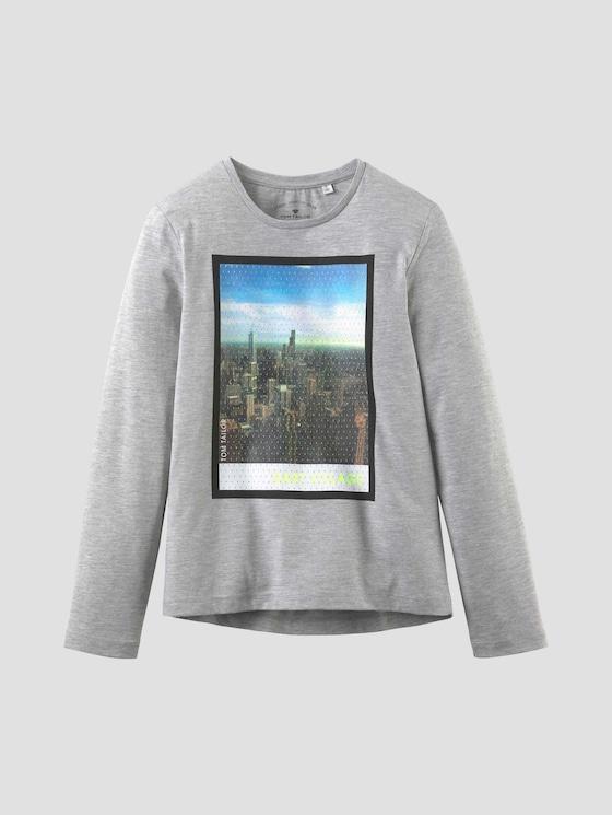 Langarmshirt mit Fotoprint - Jungen - drizzle melange|gray - 7 - Tom Tailor E-Shop Kollektion