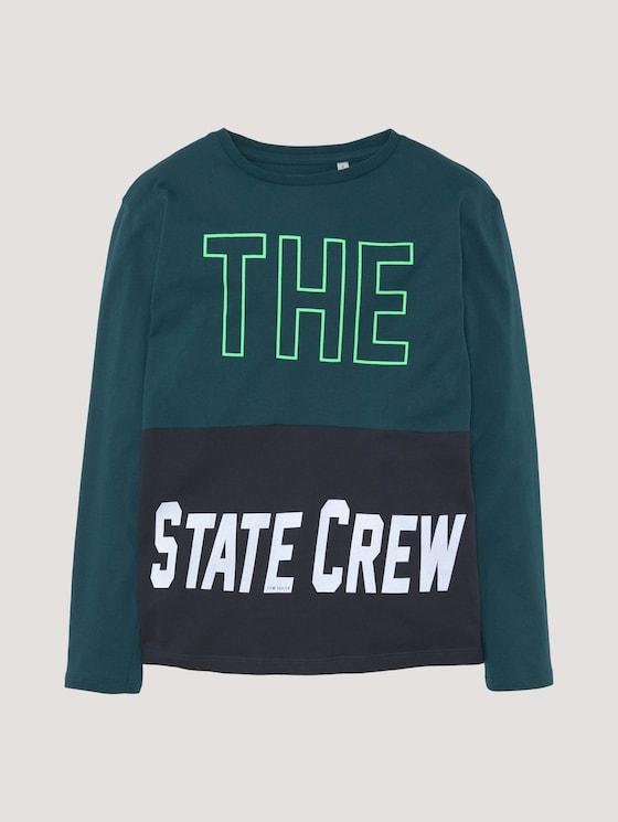 Top met lange mouwen en contrasterende strepen - Jongens - deep teal|green - 7 - Tom Tailor E-Shop Kollektion