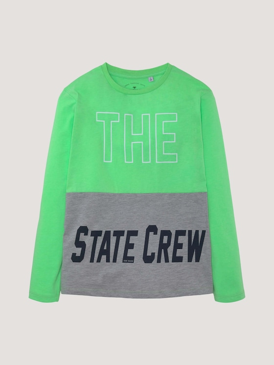 Langarmshirt mit Kontraststreifen - Jungen - washed neon green|green - 7 - Tom Tailor E-Shop Kollektion