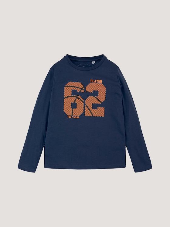 Shirt met lange mouwen en sportieve print - Jongens - dress blue - 7 - Tom Tailor E-Shop Kollektion