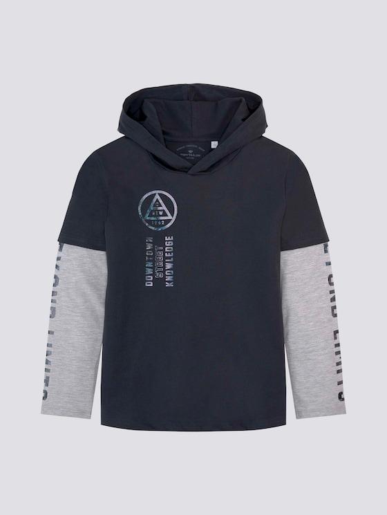 Doppellagiges Langarmshirt mit Print - Jungen - vulcan gray - 7 - Tom Tailor E-Shop Kollektion