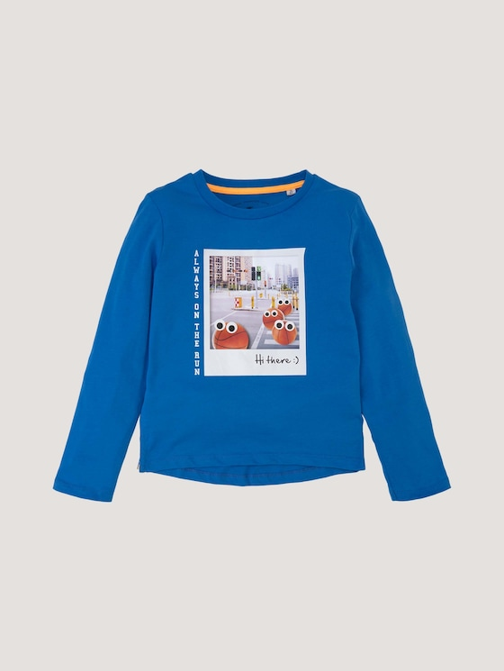 Langarmshirt mit Print und Applikationen - Jungen - strong blue|blue - 7 - Tom Tailor E-Shop Kollektion