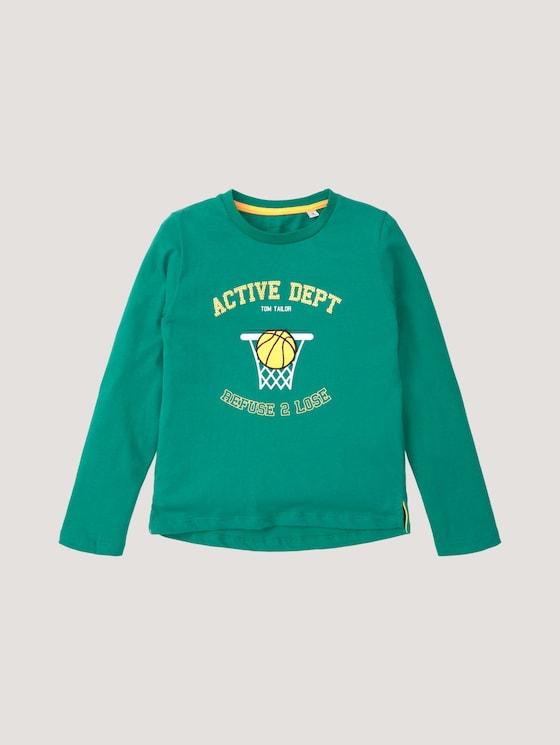 Shirt met lange mouwen en print en applicaties - Jongens - greenlake|green - 7 - Tom Tailor E-Shop Kollektion