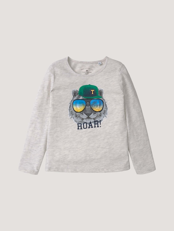Langarmshirt mit besonderem Print - Jungen - off white melange|white - 7 - Tom Tailor E-Shop Kollektion