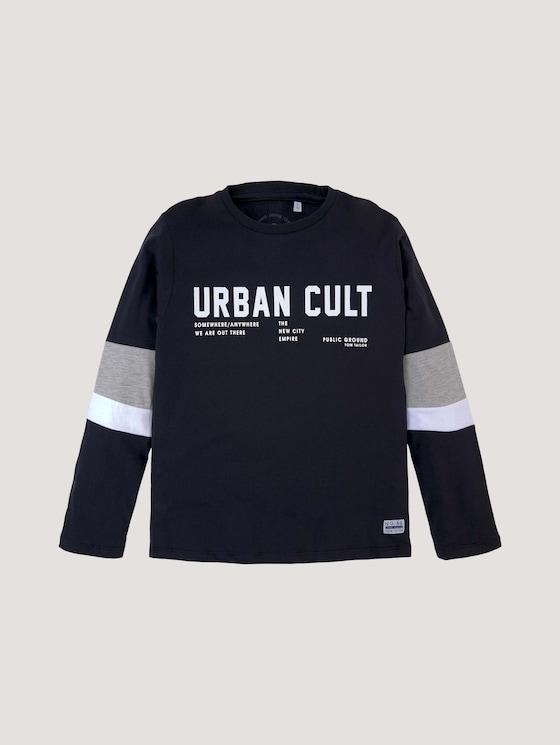 Printshirt mit Streifendetails - Jungen - vulcan|gray - 7 - Tom Tailor E-Shop Kollektion