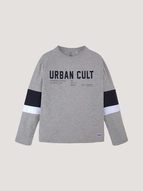 Printshirt mit Streifendetails - Jungen - drizzle melange|gray - 7 - Tom Tailor E-Shop Kollektion