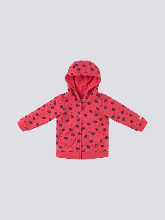 Gemusterte Sweatjacke mit Herztaschen - Babies - geranium red - 7 - Tom Tailor E-Shop Kollektion