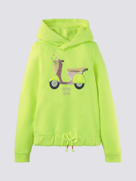 Hoodie mit Pailletten-Artwork - Mädchen - fiery lime neon|green - 7 - Tom Tailor E-Shop Kollektion