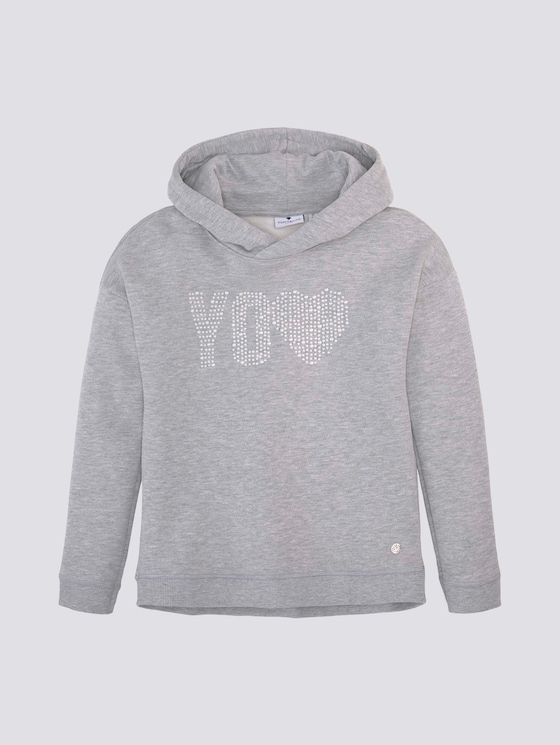 Hoodie met applicatie - Meisjes - drizzle melange|gray - 7 - Tom Tailor E-Shop Kollektion