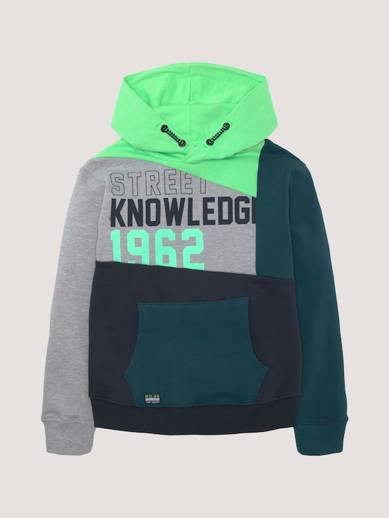 Melierter Hoodie im Colorblocking - Jungen - washed neon green|green - 7 - Tom Tailor E-Shop Kollektion