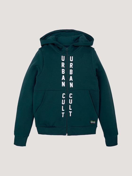 Gevlekte sweatshirt jas in print - Jongens - deep teal|green - 7 - Tom Tailor E-Shop Kollektion