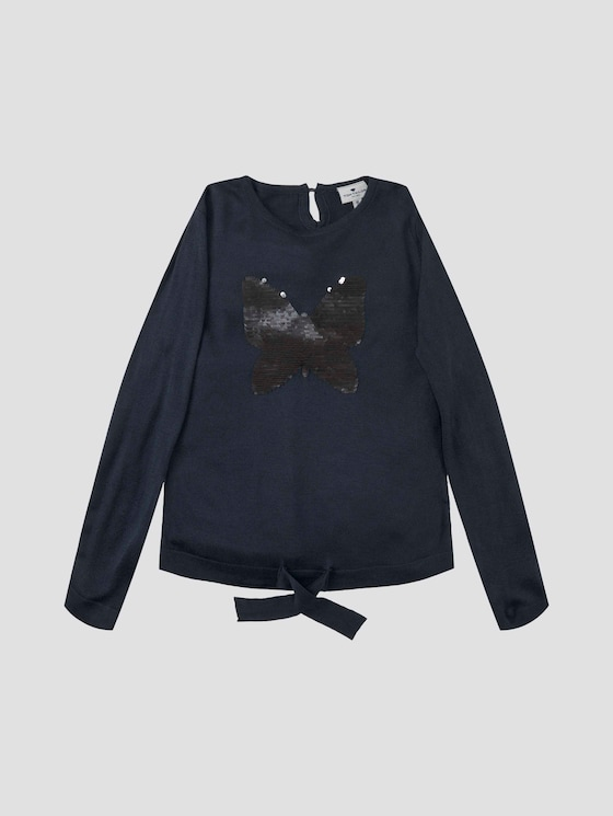 Weicher Pullover mit Paillettenmotiv - Mädchen - dress blue|blue - 7 - Tom Tailor E-Shop Kollektion
