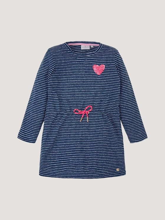 Gestreiftes Jerseykleid mit Paillettenmotiv - Mädchen - dress blue|blue - 7 - Tom Tailor E-Shop Kollektion