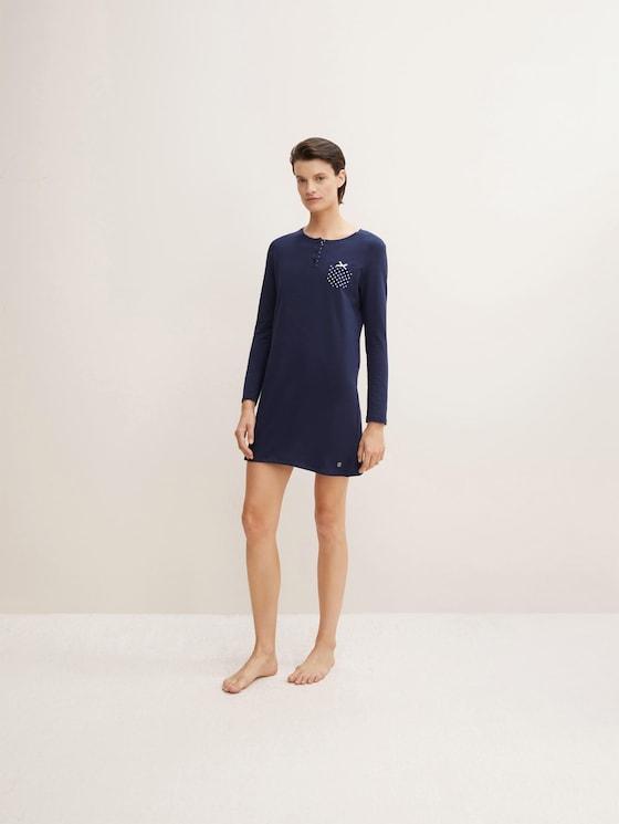 Pyjama Kleid mit Brusttasche - Frauen - dark blue uni - 3 - TOM TAILOR