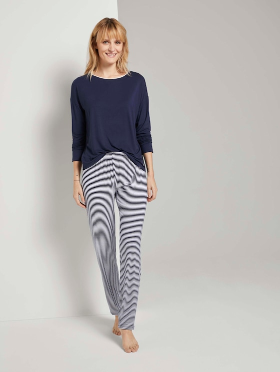 Langes Pyjama Set mit Streifenhose - Frauen - blue ring - 3 - TOM TAILOR