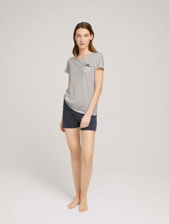 Gemustertes Pyjama-Set mit Shorts - Frauen - blue allover - 3 - TOM TAILOR