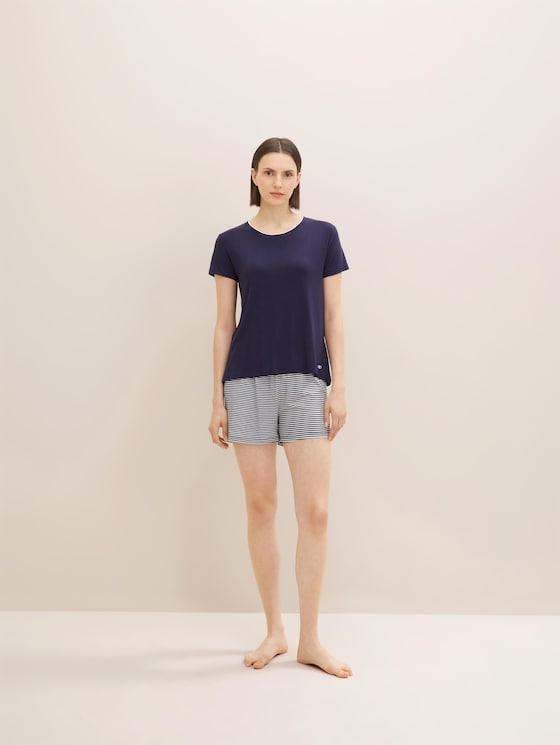 Maritimes Pyjama-Set mit Shorts - Frauen - blue ring - 3 - TOM TAILOR
