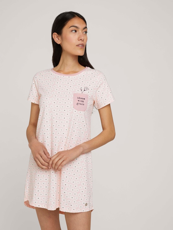 Gemustertes Nachthemd mit Brusttasche - Frauen - light-red-allover - 5 - TOM TAILOR