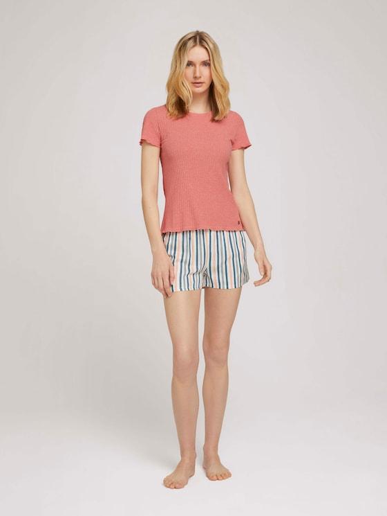 Pyjama-Set mit Shorts - Frauen - medium red stripes - 3 - TOM TAILOR