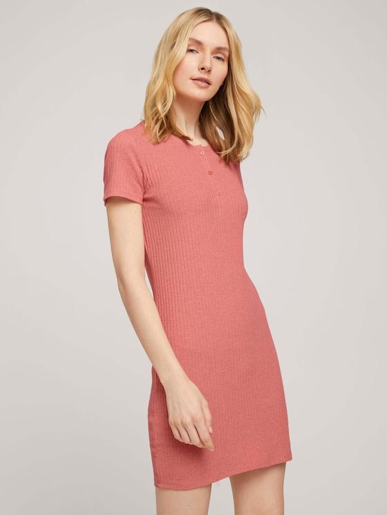 Kurzes Nachthemd mit Rippstruktur - Frauen - medium red melange - 5 - TOM TAILOR