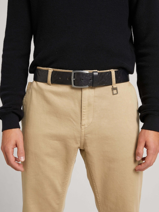 Embossed leather belt - Men - black uni - 5 - TOM TAILOR