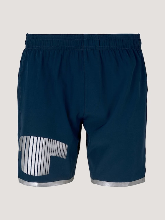 Functional shorts with a logo print - Men - dk blue - 7 - Tom Tailor E-Shop Kollektion