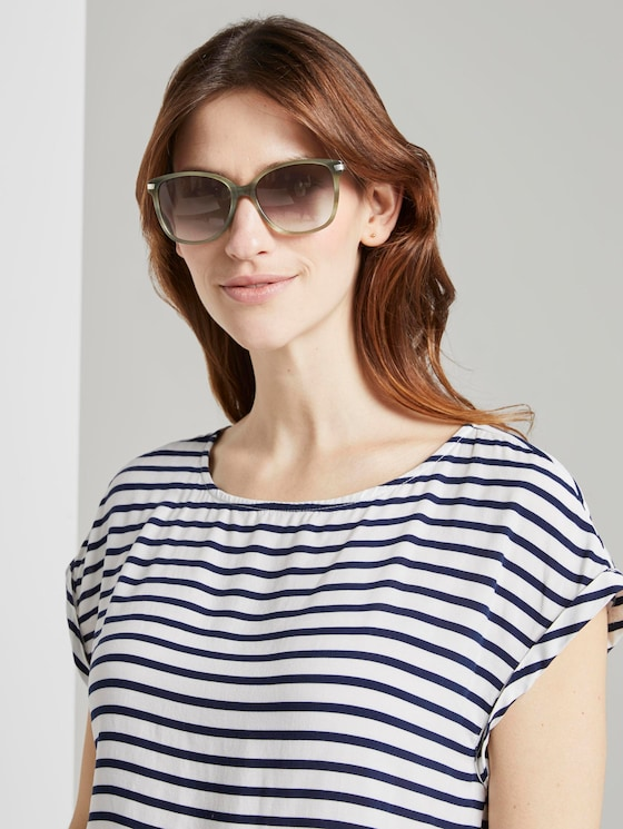 Wayfarer sunglasses with a coloured frame - Women - olive structure gold - 5 - TOM TAILOR