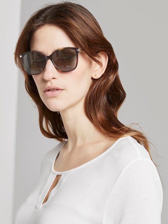Wayfarer sunglasses with a coloured frame - Women - havanna-sand perl-gold - 5 - TOM TAILOR