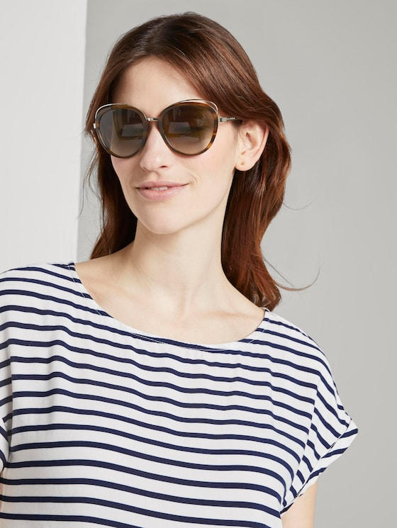 Sunglasses with large lenses - Women - brown structure gold - 5 - TOM TAILOR