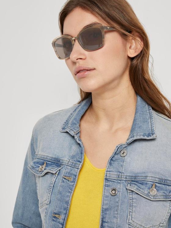 Wayfarer Sonnebrille mit breitem Rahmen - Frauen - brown structure-gold - 5 - TOM TAILOR