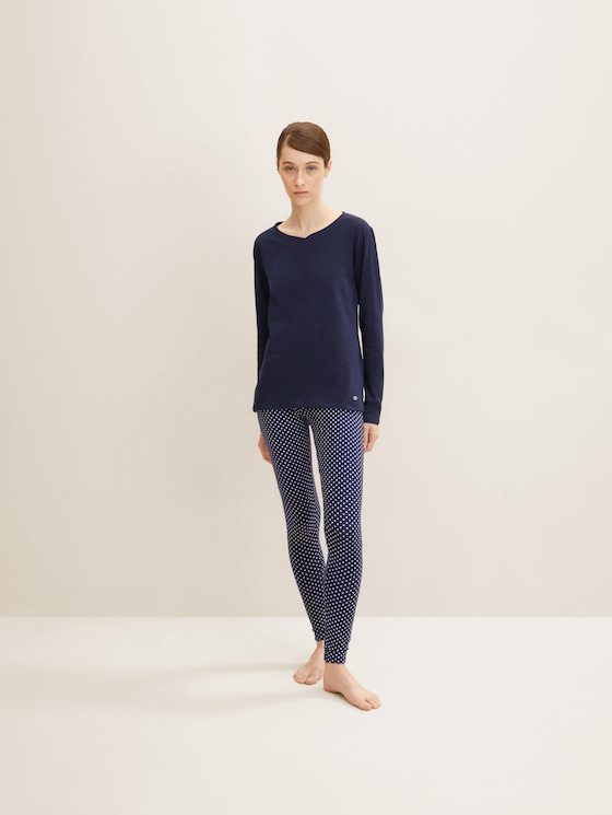 Gepunktete Pyjama Leggings - Frauen - dark blue allover - 3 - TOM TAILOR