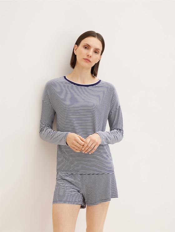 Pyjama Oberteil mit Streifen - Frauen - blue ring - 5 - TOM TAILOR
