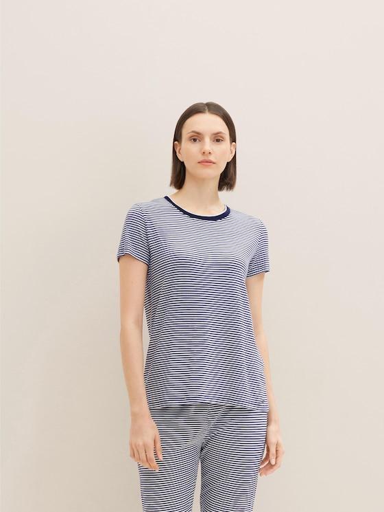 Kurzes Pyjama Oberteil mit Streifen - Frauen - blue ring - 5 - TOM TAILOR