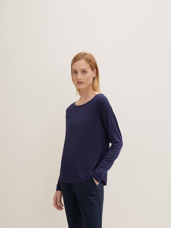 Langarm Pyjama Oberteil - Frauen - dark blue uni - 5 - TOM TAILOR