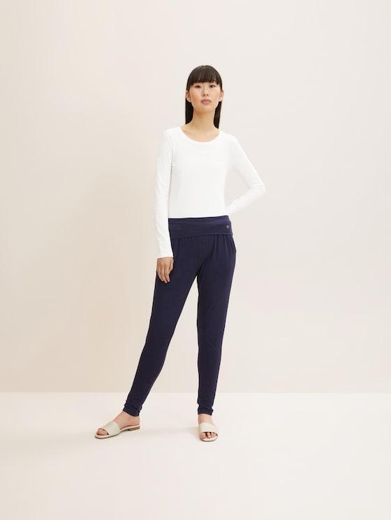 Lockere Pyjamahose - Frauen - dark blue uni - 3 - TOM TAILOR